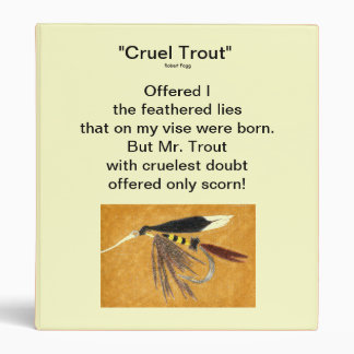 """mcginty-Cruel Trout"" Fly Fishing Journal 3 Ring Binder"