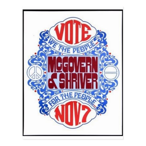 Mcgovern 1972 tarjeta postal
