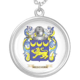 McGovern Coat of Arms (Family Crest) Silver Plated Necklace
