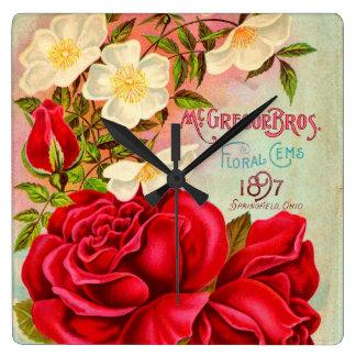 McGregor Bros. Floral Gems Advertisement Square Wallclocks