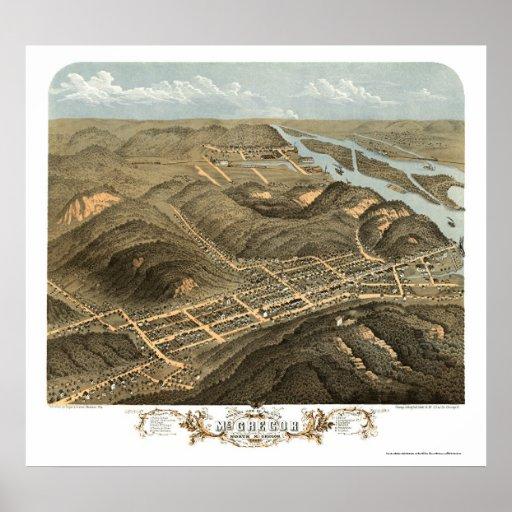 McGregor, mapa panorámico de IA - 1869 Póster