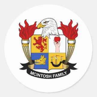 McIntosh Family Crest Classic Round Sticker
