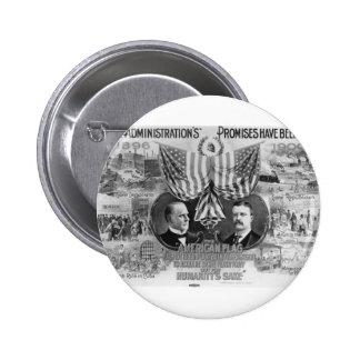 Mckinley 1900 - Roosevelt Pin Redondo 5 Cm