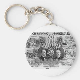 Mckinley 1900 - Teddy Roosevelt Llavero Redondo Tipo Pin