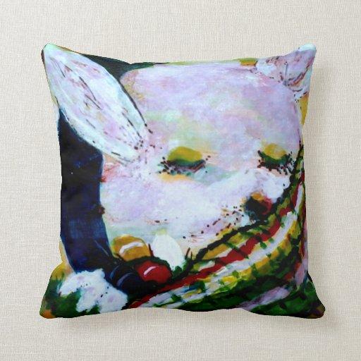 MClairArt's Funny Sun Faces Sleeping Bunny Pillow