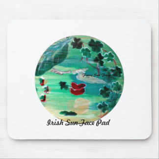 MClairArt's Funny Sun Faces St. Patrick's Gifts Mouse Pad