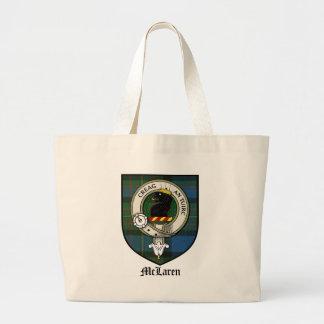 McLaren Clan Crest Badge Tartan Large Tote Bag