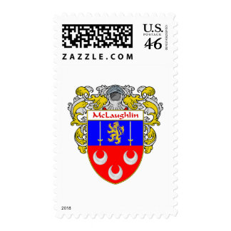 McLaughlin Coat of Arms Mantled Postage Stamp