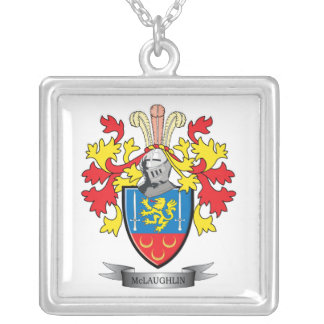 McLaughlin Coat of Arms Silver Plated Necklace