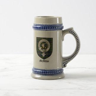 McMillan Clan Crest Badge Tartan Beer Stein
