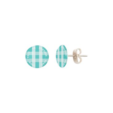 Christmas Themed McTiffany Aqua Blue Tartan Scottish Plaid Earrings
