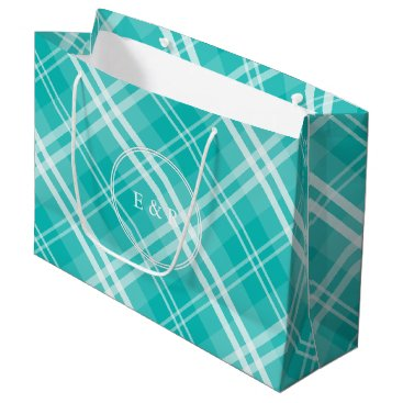 Valentines Themed McTiffany Aqua Blue Tartan Scottish Plaid Large Gift Bag