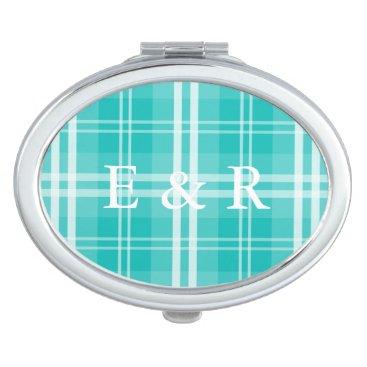 Christmas Themed McTiffany Aqua Blue Tartan Scottish Plaid Mirror For Makeup