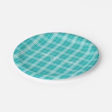 Christmas Themed McTiffany Aqua Blue Tartan Scottish Plaid Paper Plate