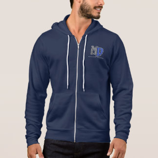 MD Blue Dragon Zip Hoodie, Navy Blue Hoodie