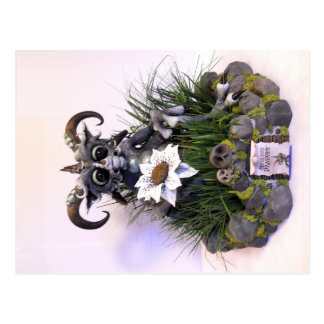 MD Blue Flower Dragon Postcard