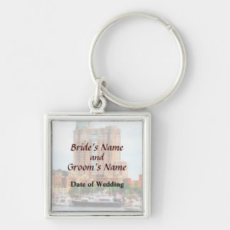 MD - Boats at Inner Harbor Wedding Products Keychain