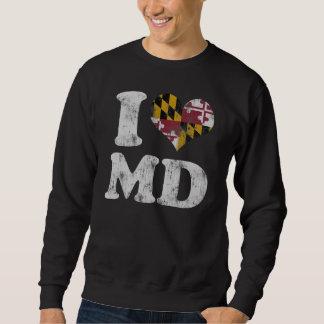 MD de la bandera de Maryland del corazón I Pulóvers Sudaderas
