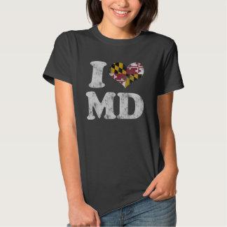 MD de la bandera de Maryland del corazón I Remera