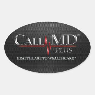MD de la llamada más los pegatinas Calcomania Ovalada