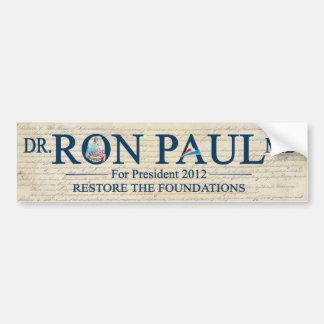 MD del Dr. Ron Paul para el presidente 2012 Pegatina Para Auto