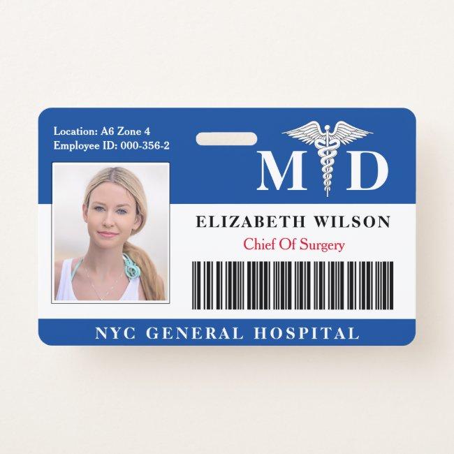 MD Doctor | Hospital Medical Employee Photo ID Badge