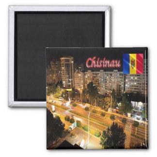 MD - El Moldavia - Chisinau - ciudad por noche Imán Cuadrado