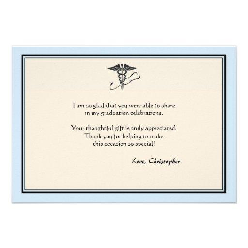 MD Graduation Blue Thank You Note Custom Invite