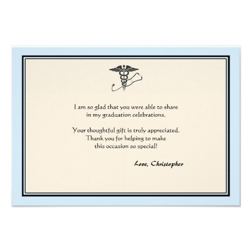 MD Graduation Blue Thank You Note Custom Invite