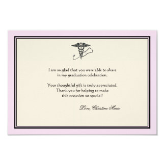 MD Graduation Pink Thank You Notecard 3.5x5 Paper Invitation Card