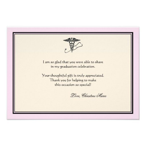 MD Graduation Pink Thank You Notecard Invitation