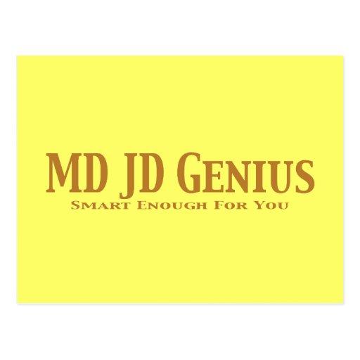 MD JD Genius Gifts Postcard