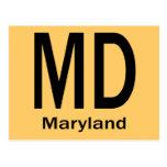 MD Maryland plain black Post Card
