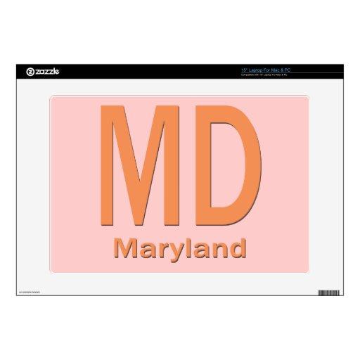 MD Maryland plain orange Laptop Skin