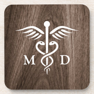 MD medical doctor with caduceus on wood background Drink Coaster