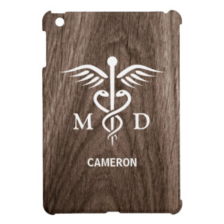 MD medical doctor with caduceus wood personalized Case For The iPad Mini