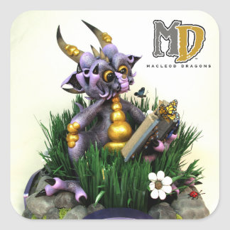 MD Purple Dragon Stickers, Sqaure Glossy Square Sticker