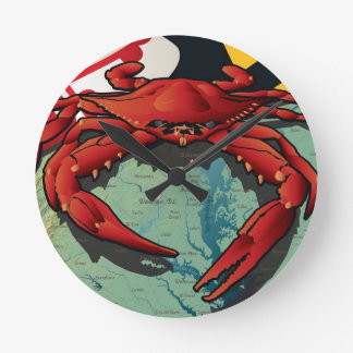 MD Red Crab Round Clock