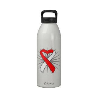 MDS Awareness Heart Ribbon Drinking Bottles