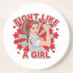 MDS Awareness Modern Rosie Fight Like a Girl Drink Coaster