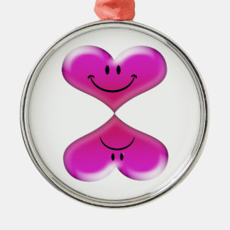Me ama, me ama no, diseño de los corazones de la adorno navideño redondo de metal