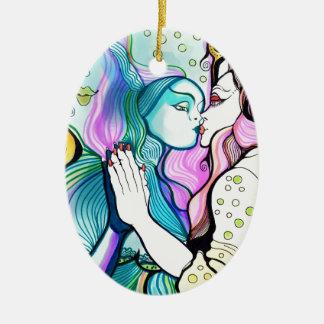 Me amo - o el espejo mágico adorno ovalado de cerámica