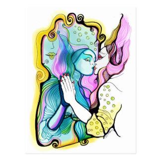 Me amo - o el espejo mágico tarjeta postal