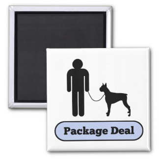 Me and My Boxer Dog Package Deal 2 Inch Square Magnet