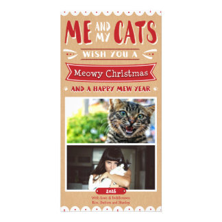 Me and My Cats Christmas 4x8 Photocard (2 Images) Card