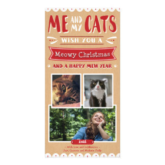 Me and My Cats Christmas 4x8 Photocard (3 Images) Card