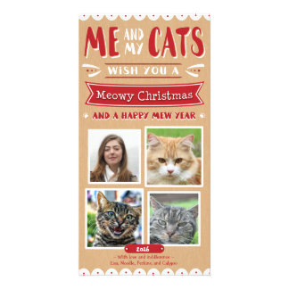 Me and My Cats Christmas 4x8 Photocard (4 Images) Card