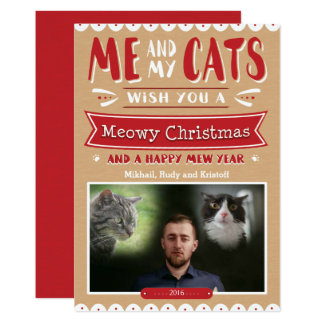 Me and My Cats Christmas 5x7 Photo Card
