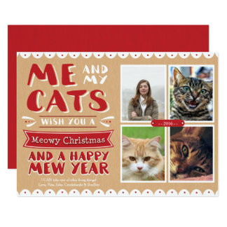 Me and My Cats Christmas 5x7 Photocard (4 Images) Card
