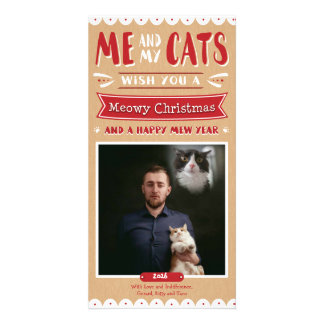 Me and My Cats Christmas Photocard (1 Image) Card